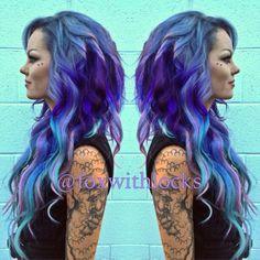 Hair by Franke Kurucz at Untamed Hair Studio. Silver, violet, teal and pink color melt ombré hair done with pravana.  Stylist @foxwithlocks Model @geenamaneena