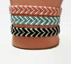 Old Fashion Chevron Pattern Embroidery Macrame Bracelet Set by BraceletsByJen