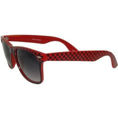 Checked Wayfarer Style Sunglasses, in Red with Black Finish GirlPROPS. $9.99