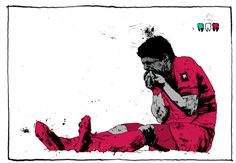 """MOMENT OF THE MATCH daily illustration series of the 2014 World Cup for The New Republic: Luis Suarez and """"bite number three"""" - by Simon Prades Neymar, Messi, Football Icon, Football Art, Football Players, Soccer Highlights, Match Highlights, Wave Illustration, Character Illustration"""