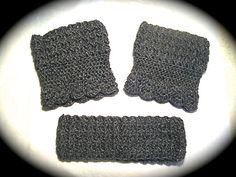 Crochet Headband Set Women's Boot Cuffs by SerendiptyCrochet207