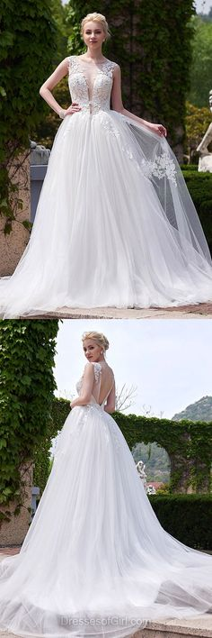 Lace Backless Wedding Dresses, A Line Tulle Bridal Gowns, Unique Princess Wedding Gowns, Simple Bridal Dress, Beach Wedding Dress