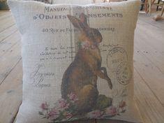 Feedsack Rabbit Burlap Pillow Pink Roses by PolkadotApplePillows