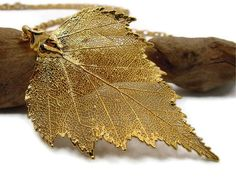Bridesmaid Jewelry Idea: Leaf Necklace Gold Leaf Jewelry by TheJewelryByAndrea on Etsy, $49.00