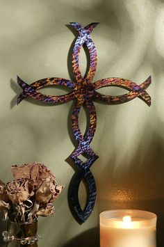 """Jeweled Steel Ichthus Fish In Cross 5"""", 8"""" or 12"""""""