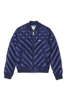 blue qulited bomber Quilted bomber jacket, £175, lacoste.com.