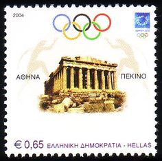 Stamps from Greece 2004 Olympics, Postage Stamp Art, Love Stamps, Athens Greece, Stamp Collecting, Olympic Games, Travel Posters, Acropolis, Andorra
