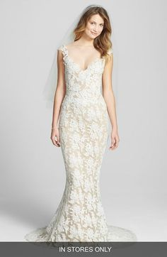 Reem Acra 'Eve' Illusion Yoke Embroidered Lace Column Gown (In Stores Only) available at #Nordstrom