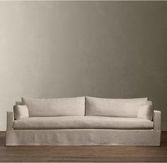 Restoration Hardware 6ft Belgian Track Arm Linen Sofa #RestorationHardware