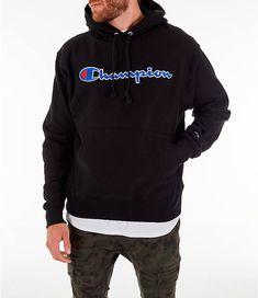 Front view of Men's Champion Reverse Weave Script Pullover Hoodie Champion Clothing, My Champion, Champion Sweatshirt, Fresh Outfits, Men's Hoodies, Sweatshirts, Men Dress, Shirt Designs, Fly Guy