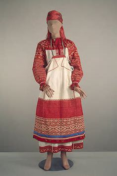 Woman's Costume   Oryol Province   Russia. Second half of 19th century  Wool and woollen thread, braid, linen, cotton thread, satin and silk; weaving, embroidery, patterned weaving. L.. shirt 131, apron 92x76, skirt 60x134 cm   Source of Entry:  Purchasing Commission of Experts of the State Hermitage Museum (1973, 1971); Expedition of the State Hermitage. 1970 and 1981