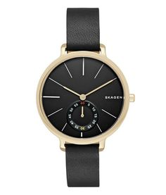 8419439506aa Skagen Women's Hagen Watch in Goldtone with Black Leather Strap and Black  Dial Case Size: Band Width: Single subdial Water resistant to 5 ATM Leather  strap