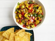 Grilled pineapple salsa from Food Network Magazine, May 2013
