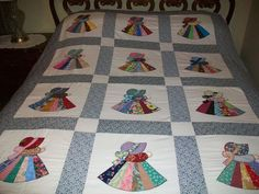 Fancy Sunbonnet Sue Quilt Top (homemade by me) 54x68 (Unfinished) in Crafts, Sewing & Fabric, Quilting   eBay