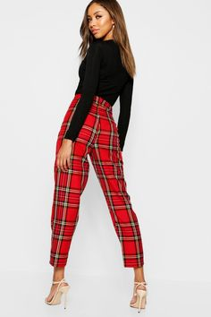 95 % polyester 5 % spandex Made in the USA Slim Fit Trousers, Trousers Women, Pants For Women, Women's Trousers, Pantalon Tartan, Red Plaid Pants, Ripped Knees, Two Piece Outfit, Workout Pants