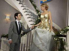 Gossip Girl from Best TV & Movie Wedding Dresses  The apex of an era! The Gossip Girl series finale ended with Serena (Blake Lively) and Dan (Penn Badgley) finally tying the not after seasons of tumultuous dating, and Serena's gold and white Georges Chakra Couture gown was just the final fashion high not the show needed.