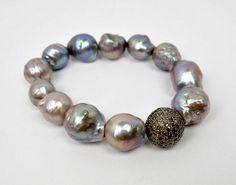 Silver Diamond Grey Baroque Pearl Bracelet by DoolittleJewelry, $1325.00