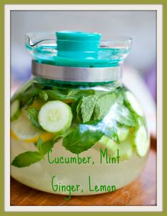 wastes, including fat cells. Calbom writes tout 1 Sliced Cucumber, 1 sliced lemon, 1/2 cup of ginger root, 1/2 cup mint.  Drink throughout day.