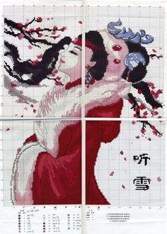 0 point de croix fille asiatique manteau rouge - cross stitch asian girl in red coat