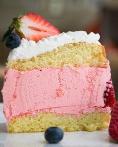 Strawberry Jello Cake. Love at first bite! @NatashasKitchen