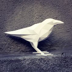 You can make your own raven for home decoration! Printable DIY template (PDF) contains 4 pages. Use colored paper. Sizes of the raven - cm or cm I would rather recommend using If you need another size of finished sculpture, just change Low Poly, Origami, The Raven, Diy Wanddekorationen, Paper Architecture, Geometric Sculpture, Clay Birds, 3d Modelle, 3d Paper Crafts