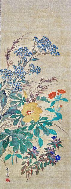 (Japan) Autumn flowers by Suzuki Kiitsu hanging scroll. Japanese Prints, Japanese Style, Japanese Screen, Japanese Painting, Japan Art, Chinese Art, Chinoiserie, Vibrant Colors, Vintage World Maps