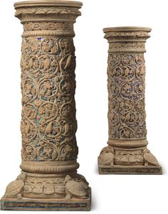 A pair of American terracotta and mosaic pedestals early 20th century