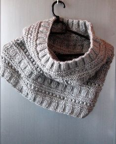 Infinity Scarf Cowl Wrap Light Gray Hand knit Wool by Initasworks