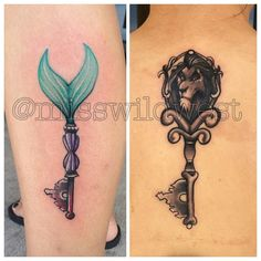 """Custom Little Mermaid and Scar sister key tattoos today. #disneytattoos…"