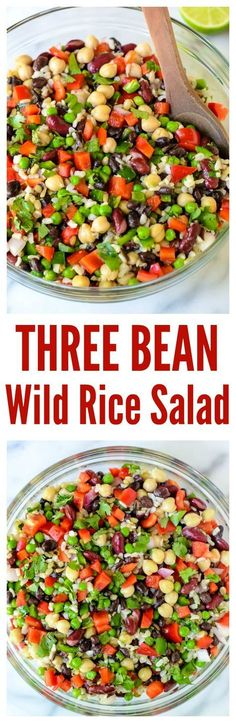 Three Bean Wild Rice Salad. The ultimate potluck recipe! Perfect for tailgating, game watches, or an easy, healthy lunch.