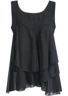 Black Sleeveless Cascading Ruffle Chiffon Top - Sheinside.com