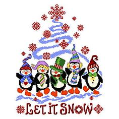 Penguin Holiday cross stitch pattern.