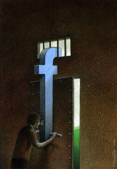 La progressiva scomparsa della privacy ad uso di controllo sociale e spionaggio militare attraverso i social network e più in generale l'informatica. Le ciniche illustrazioni di Pawel Kuczynski - Focus.it