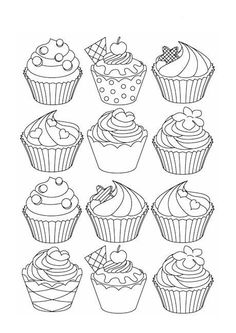 Cupcake Coloring Pages Printable Ideas - this time we shared some sample cupcake coloring pictures. And there are some ice cream. The shape is very cu. Cupcake Coloring Pages, Cute Coloring Pages, Flower Coloring Pages, Disney Coloring Pages, Free Coloring, Adult Coloring Pages, Coloring Pages For Kids, Free Printable Coloring Pages, Coloring Books