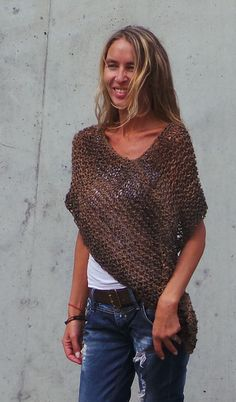 Brown Poncho / loose knit Luxury merino and alpaca mix by ileaiye