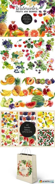 Watercolor fruits and berries  stock images