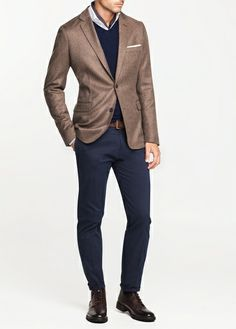 Wool Toasted Premium Elbow Patches Blazer Look by H.E. Mango