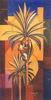 Untitled - Hafidh al-Droubi Palm Tree Art, Palm Trees, Arabesque, Folk Art Flowers, Arabian Art, Romance Art, Egypt Art, Bagdad, Plastic Art