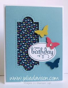Apothecary Accents Framed Birthday Cards with Stampin' Up! Bitty Butterfly Punch & Patio Party DSP #juliedavison #birthday #paperpiercing