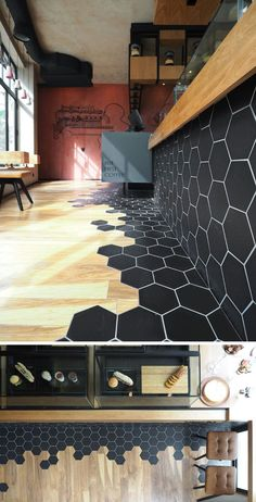Tiles Transition Into Wood Flooring Inside This Cafe In Greece Black hexagon tiles and wood laminate flooring are a design element in this modern cafe.Black hexagon tiles and wood laminate flooring are a design element in this modern cafe. Black Hexagon Tile, Hexagon Tiles, Black Tiles, Hexagon Backsplash, Honeycomb Tile, Honeycomb Shape, Hexagon Shape, Wood Laminate Flooring, Kitchen Flooring
