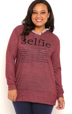 Deb Shops Plus Size French Terry Tunic Hoodie with Selfie Definition Screen