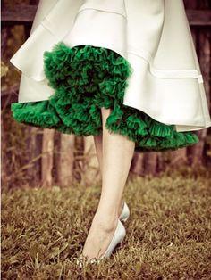 petticoat/crinoline under a tea length wedding dress -- I would love to do this with a purple crinoline.