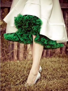 green pettiskirt under silk dress