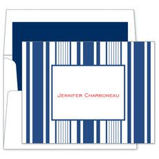 Navy Multistripe Note Cards