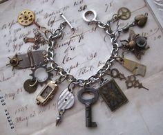 Steampunk Charm Bracelet by NobleStudiosLtd on DeviantArt Vintage Charm Bracelet, Vintage Jewelry, Handmade Jewelry, Charm Jewelry, Jewelry Crafts, Jewelry Bracelets, Jewelry Ideas, Jewlery, Metal Jewellery