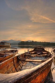 Rowing boats on Derwent water.
