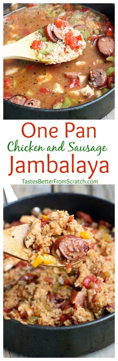 One Pan Chicken and Sausage Jambalaya recipe on MyRecipeMagic.com