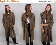 Verkauf - Vintage 50er Jahre Tweed Mantel, Herren tragen Fell, langen Tweed…