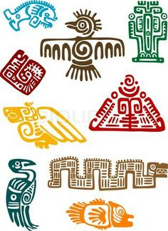Ancient maya monsters stock vector on Colourbox