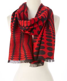 Orange & Black Dot Cashmere Scarf | zulily